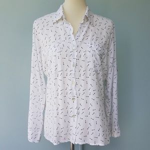 Just living Key Button Dow Roll Slv White Blouse M